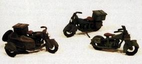 JL US Military Motorcycles Metal Kit (3) Model Railroad Road Accessory HO Scale #907
