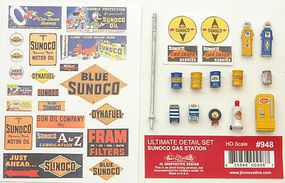JL Ultimate Sunoco Gas Station Detail Set HO Scale Model Railroad Building Accessory #948