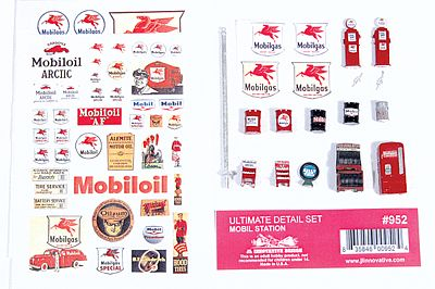 JL Innovative Design Ultimate Detail Set Mobil Gas Station -- Model Railroad Building Accessory -- HO Scale -- #952