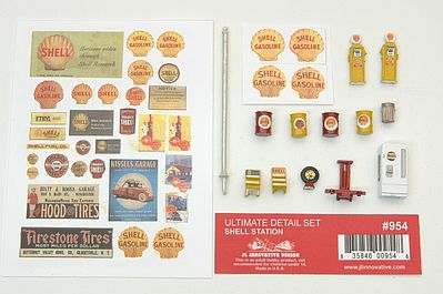 JL Ultimate Detail Set Shell Gas Station Model Railroad Building Accessory HO Scale #954