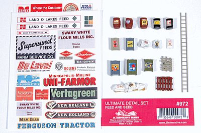 JL Innovative Design Ultimate Detail Set Feed & Seed -- Model Railroad Building Accessory -- HO Scale -- #972