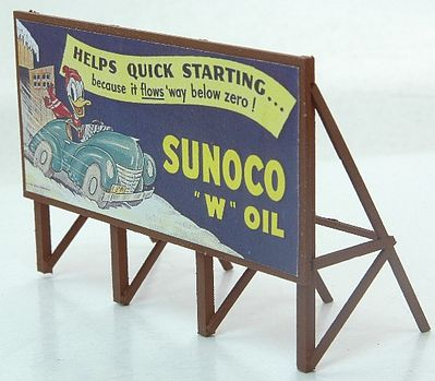 JL Innovative Design Custom Billboard 1940s Sunoco Gas -- Model Railroad Sign -- HO Scale -- #977