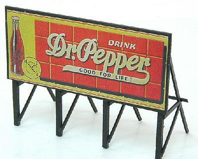 JL Innovative Design HO 1940's-50's Dr. Pepper Custom Billboard Sign (Assembled)
