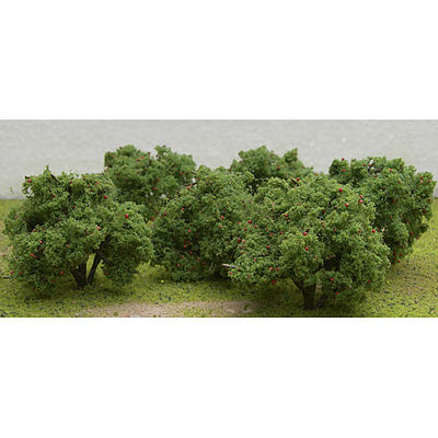 JTT Miniature Tree Fruit Grove Apple Trees 6-Pack -- HO Scale Model Railroad Tree -- #92122