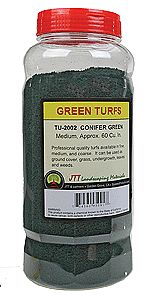 JTT Miniature Tree Conifer Green Medium Turf 60 Cubic Inches -- Model Railroad Ground Cover -- #95091