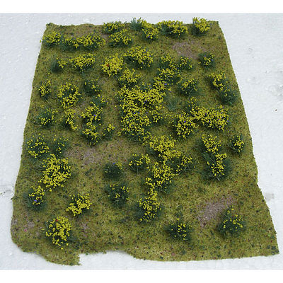 JTT Miniature Tree Flowering Meadow Mat - Yellow Sheet -- Model Railroad Grass Mat -- #95605