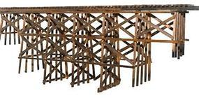 JV Wood Timber Trestle Kit (18 x 16) HO Scale Model Railroad Bridge #2014