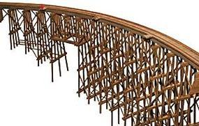 JV Curved Wood Trestle Kit HO Scale Model Railroad Bridge #2016