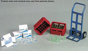 JsWorks 1/35 Drinks Set- Soda & Water Bottles, Boxes/Crates, Hand Truck (Resin Kit)