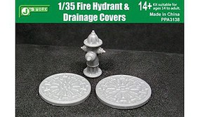 JsWorks 1/35 Fire Hydrant & 2 Drainage Covers (Resin Kit)