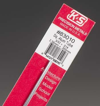 K-S 3/32x12 Square Aluminum Tube .014 Wall (1)