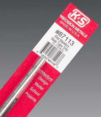 K & S 3/16''x12'' Round Stainless Steel Tube .025 Wall (1)