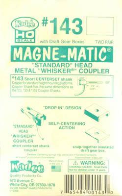 "Scale Metal Self Centering Whisker Coupler Long Centers... 25//64/"" Kadee #156"