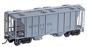 Kadee PS-2 2-Bay Covered Hopper Rutland #503 (gray, black) HO Scale Model Train Freight Car #8336