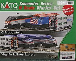 Kato MP36PH Commuter Train Starter Set - Metra N Scale Model Train Set #1060031