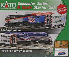 Kato F40PH Commuter Train Starter Set - Metra N Scale Model Train Set #1060032