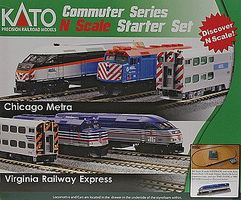 Kato MP36PH Commuter Train Starter Set - Virginia Railway Express N Scale Model Train Set #1060033