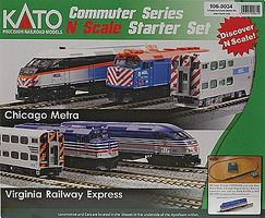 Kato F40PH Commuter Train Starter Set - Virginia Railway Express N Scale Model Train Set #1060034