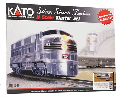 Kato USA Inc Silver Streak Zephyr Starter Chicago, Burlington & Quincy -- N Scale Model Train Set -- #1060041