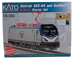 Kato Amtrak ACS-64 and Amfleet I Starter Set N Scale Model Train Set #1060042