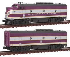 Kato EMD F2 A-B Set Atlantic Coast Line N Scale Model Train Diesel Locomotive #1060201