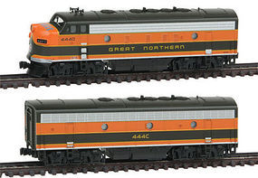 Kato EMD F7 A/B Set Great Northern #444D/C N Scale Model Train Diesel Locomotive #1060421