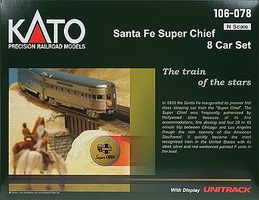 Kato Super Chief 8-Car Passenger Set - Santa Fe N Scale Model Train Set #106078