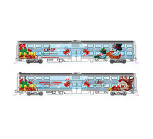 Kato Operation North Pole 2-Car Add-On Set w/Bookcase Case - Standard DC Metra (Special Christmas Scheme, Matches #381-1062016) - N-Scale