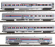Kato Amtrak (Phase I) 4-Car Set - Ready to Run Former-ElCap Baggage, Super Chief 10-6 Sleeper, Cal Zephyr Diner & 10-6 Slee - N-Scale