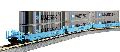 Kato USA Inc MAXI-I Set with Container Maersk (5) -- N Scale Model Train Freight Car Set -- #1066191