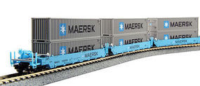 Kato MAXI-I Set with Container Maersk (5) N Scale Model Train Freight Car Set #1066191