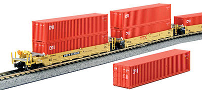 Kato USA Inc MAXI-I Set with Container TTX (5) -- N Scale Model Train Freight Car Set -- #1066192