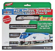 Kato Amfleet & Viewliner Intercity Express Train-Only Amtrak P42 N Scale Model Train Set #1066285