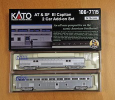 Kato El Capitan Coach and Storage Mail Car Set Ready to Run Santa Fe (2019 Roadnumbers, silver) N-Scale