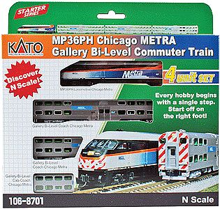 Kato Chicago Metra Bi-Level Commuter Train-Only Set - N-Scale