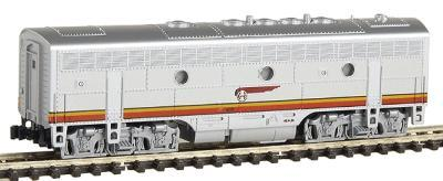 Kato EMD F7B - Standard DC Powered Santa Fe (Warbonnet, red, silver) - N-Scale