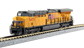 Kato GE ES44AC GEVO - Standard DC Union Pacific #5475 (Armour Yellow, gray, US Flag & Building America Logo) - N-Scale