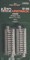 Kato Straight Roadbed Track Section - Unitrack N Scale Nickel Silver Model Train Track #20040