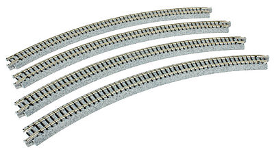 Kato Curved Track pkg(4) - 45-Degree, 13-3/4 N Scale Nickel Silver Model Train Track #20132