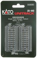 Kato Single Track Viaduct - Straight 2-7/8 6.2cm N Scale Nickel Silver Model Train Track #20440