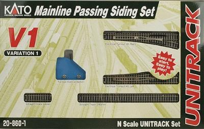 Kato USA Inc Unitrack V1 Mainline Passing Siding Set -- N Scale Nickel Silver Model Train Track -- #208601