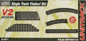 Kato Unitrack V2 Single-Track Viaduct Track Set N Scale Nickel Silver Model Train Track #208611