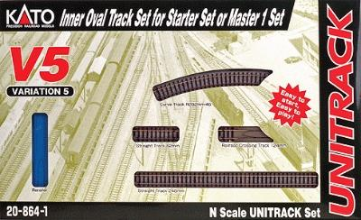 Kato USA Inc Unitrack V5 - Inside Loop Track Set -- N Scale Nickel Silver Model Train Track -- #208641