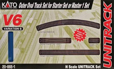 Kato USA Inc Unitrack V6 Set - Outer Oval For M1 Starter -- N Scale Nickel Silver Model Train Track -- #208651