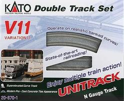 Kato Unitrack V11 Set - Double-Track Set N Scale Nickel Silver Model Train Track #208701