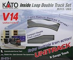 Kato Unitrack V14 Double-Track Inner Loop Track Set N Scale Nickel Silver Model Train Track #208731