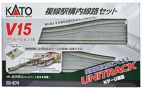 Kato Unitrack V15 Double-Track Station Starter Set N Scale Nickel Silver Model Train Track #20874