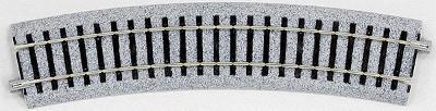 Kato USA Inc Curved Roadbed Section - Unitrack - 22.5-Degree -- HO Scale Nickel Silver Model Train Track -- #2270