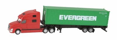 Kato USA Inc Volvo VN780 Tractor w/40' Corrugated Container on Chassis -- Red Tractor w/40' Evergreen Container (green) - N-Scale