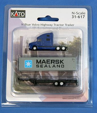 Kato USA Inc Volvo VN780 Tractor w/40' Corrugated Container on Chassis -- Blue Tractor w/Maersk Sealand Container - N-Scale